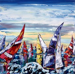 Bright Sails VI by Maya Eventov - Original Painting on Box Canvas sized 40x40 inches. Available from Whitewall Galleries